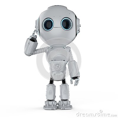Free Mini Robot Think Stock Images - 127432654