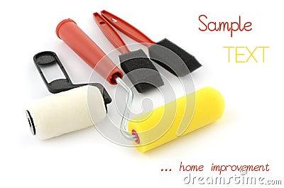 Mini rolos e esponjas de pintura