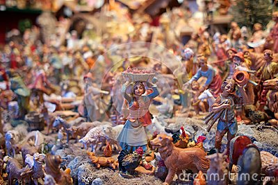 A mini sculptures in Christmas market Vienna, Austria. Stock Photo