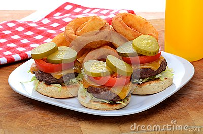 Mini Slider Cheeseburgers with Onion Rings
