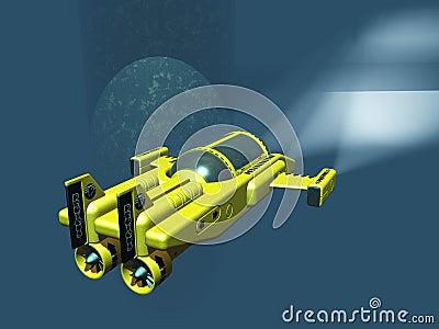 Mini submarine under oil rig