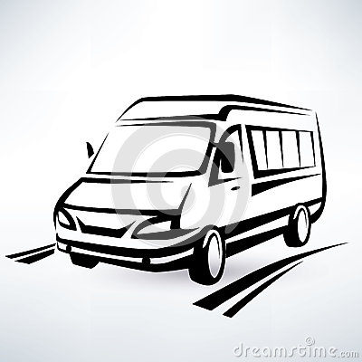 Mini van outlined sketch