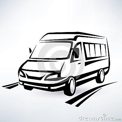 Mini van outlined sketch