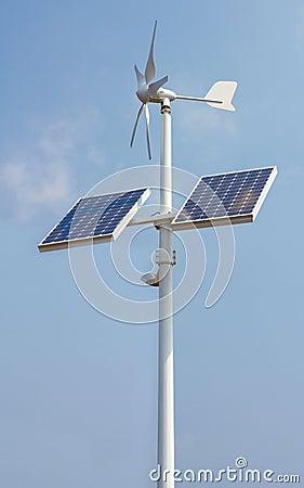 Mini wind power and solar panels