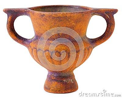 Miniature ceramic brown vase