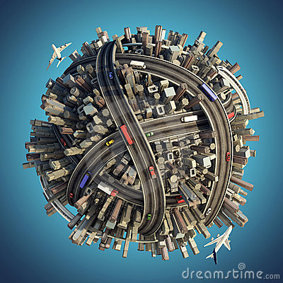 Free Miniature Chaotic Urban Planet Stock Images - 17307184