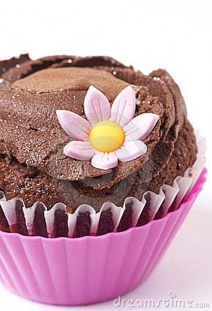 Miniature chocolate cupcake with flower