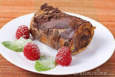 Miniature chocolate swiss roll