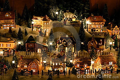Miniature Christmas Village Stock Images Image 342384
