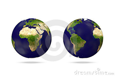 Miniature Earth Globe on white background