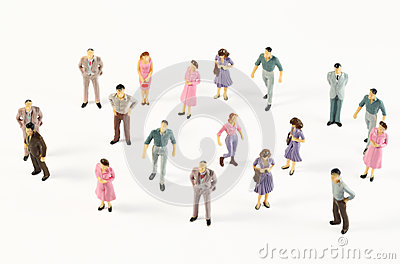 Miniature figures of human in costumes