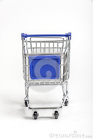 Miniature Grocery Cart With Blank Sign Area On Front