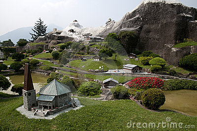 Miniature model in mini park
