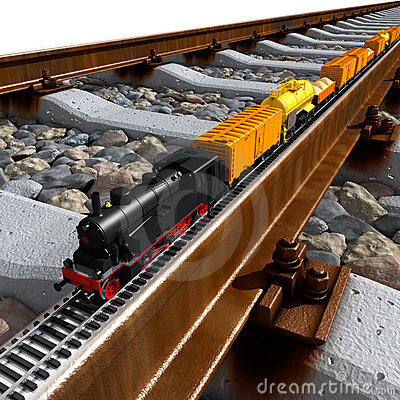 A miniature model of the train rides on big rail