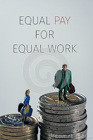 Free Miniature People And Text Equal Pay For Equal Work Royalty Free Stock Photography - 110844397