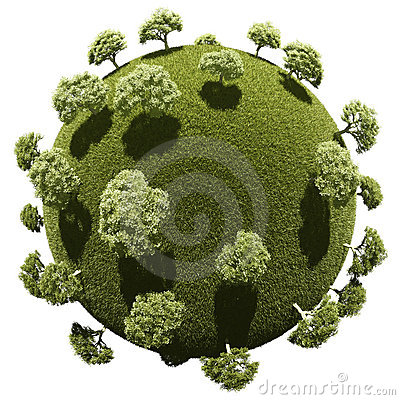 Miniature planet with grove park vegetation