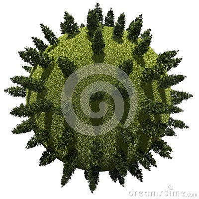 Miniature planet with pine vegetation
