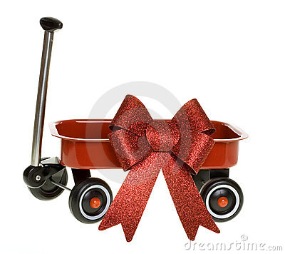 Miniature red Wagon with Glittery Christmas Bow