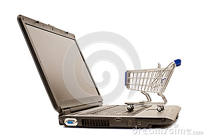 Mini shopping cart on laptop