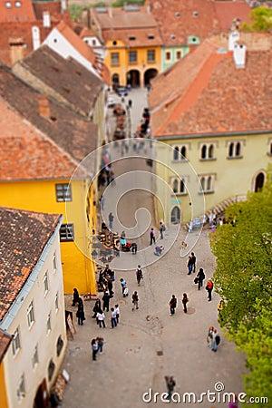Miniature town with tilt shift effect