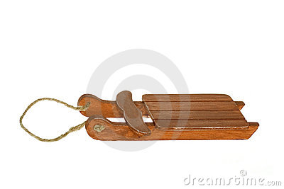 Miniature wooden brown Sleigh