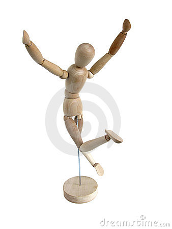 Miniature Wooden Model Leaping for Joy (back)