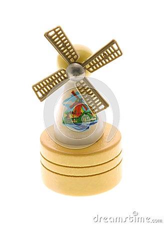 Free Miniature Wooden Windmill Souvenir On White Backgr Stock Photos - 4112003