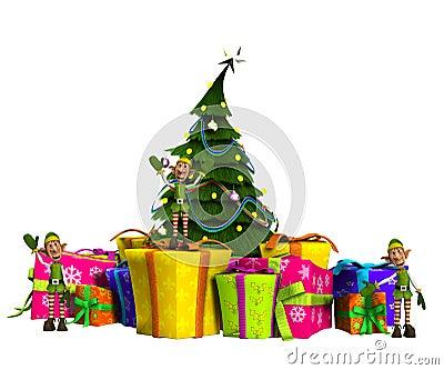 Minielfe auf Geschenken mit Weihnachtsbaum