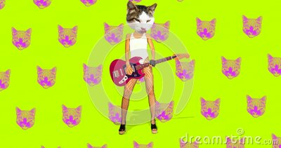 Minimal animation gif art. Funny Cats Rock gang. Minimal seamless animation pattern stock video