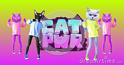 Minimal animation gif design. Dancing Kitty power stock video footage