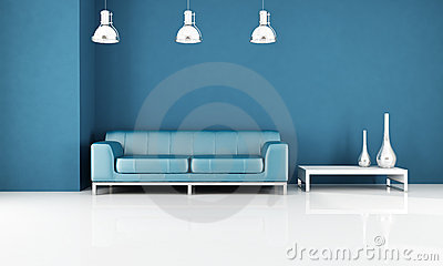 Minimal blue living-room