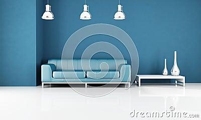Minimal blue living-room