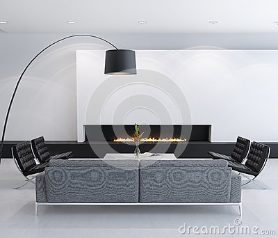 Minimal contemporary gas fireplace interior, living room