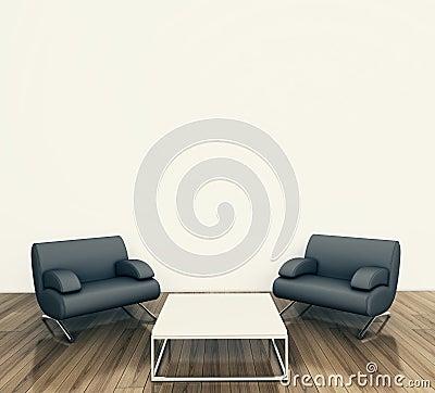 Minimal interior armchair
