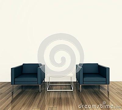 Minimal interior armchair and tadle