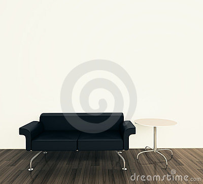 Minimal interior with single couch