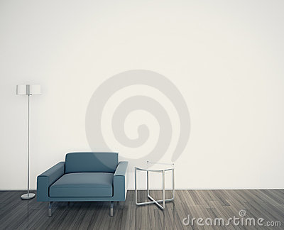 Minimal modern interior armchair FACE A BLANK WALL Stock Photo