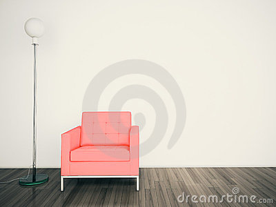 Minimal modern interior armchair FACE A BLANK WALL