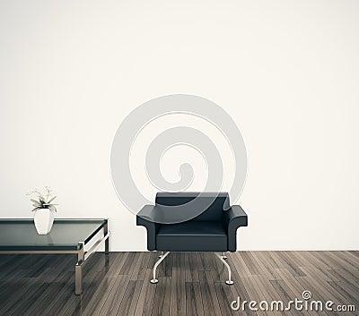 Minimal modern interior armchair face blank wall