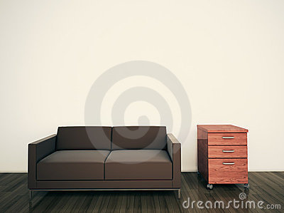 Minimal modern interior couch office