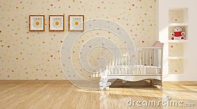 minimal modern interior of nursery.