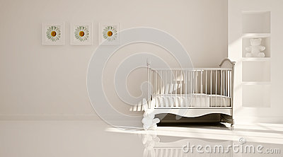 Minimal modern interior of nursery. B&W