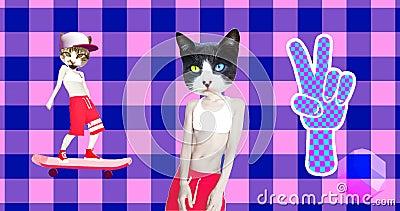 Minimal motion gif art. Urban skaters cats gang. Funny animation modern design stock footage