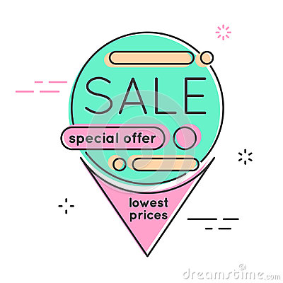 Minimal style flat trendy bubble shaped banner, price tag, stick Vector Illustration