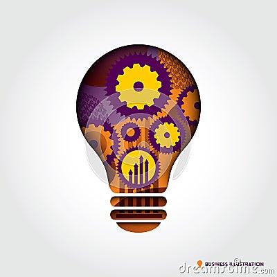 Minimal style Light Bulb shape Business Idea Conce