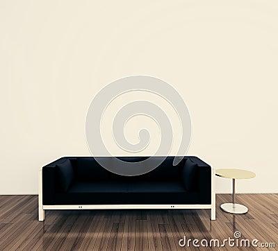 Minimaler Innenraum mit einzelner Couch