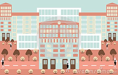 Minimalism abstract urban scenics illustration background Cartoon Illustration