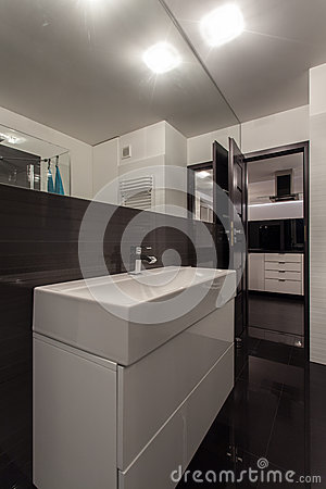 Minimalist apartment - open bathroom