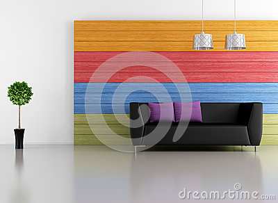Minimalist colorful lounge