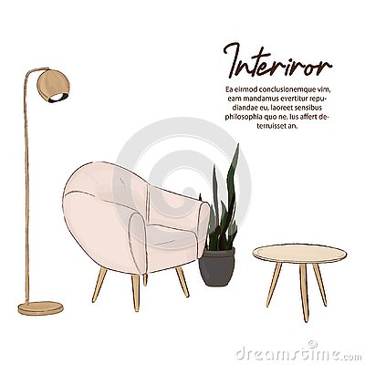 Free Minimalist Design Sketch. Scandinavian Style. Comfy Home Illustration. Home Decor With Chair, Lamp, Wood Table And Green Plant. Pa Stock Images - 129670394